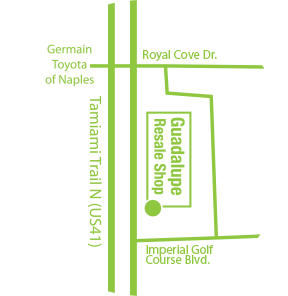 Map showing Guadalupe Center's Resale Shop location