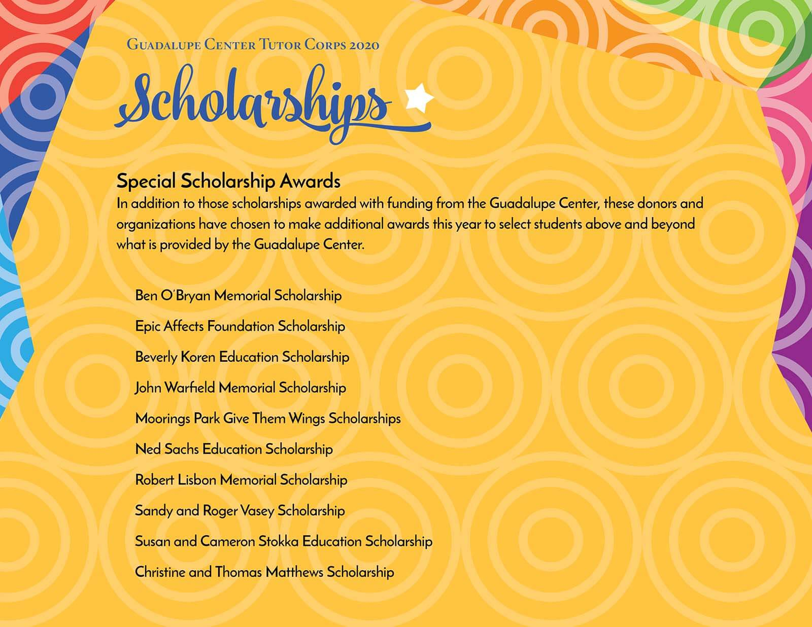 Guadalupe Center Tutors Corps Graduate Special Scholarship Awards