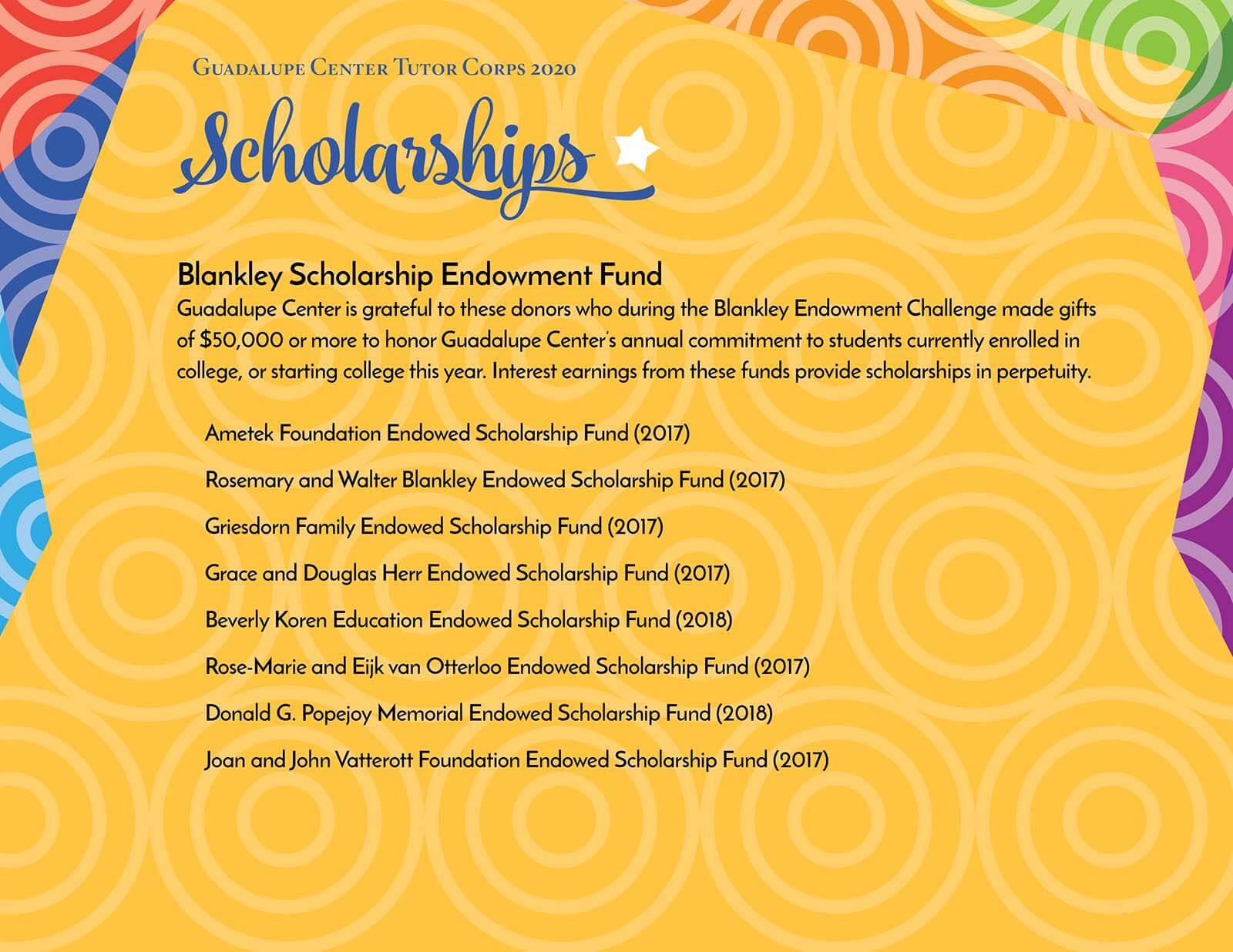Guadalupe Center Tutors Corps Graduate Blankley Scholarship Awards